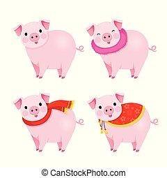 Schweine mit Kleidung, Jahr des Schweins.