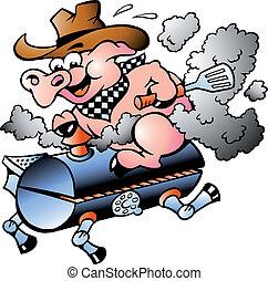Schweine reiten auf einem Grillfass.