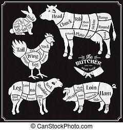schweinefleisch, huhn, metzger, plakat, landwirt, schwein, set., tier, lamm, lebensmittel, market., kuh, schafe betreiben landwirtschaft, laden, metzger, chicken., schnitt, rindfleisch, fleisch, silhouette., speicher