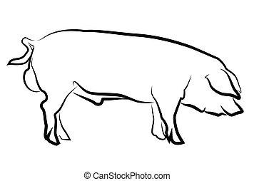 Schweineschilhouette isoliert auf weiß