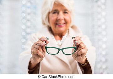 schwierig, brille, ältere frau