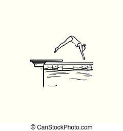 Schwimmbecken weibliche Tauchhand gezeichnete Umriss-Doodle-Ikone.