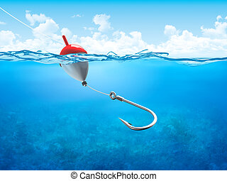schwimmen, underwater, senkrecht, haken, angelschnur