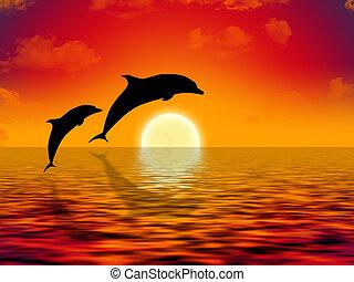 Schwimmende Delfine