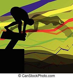 Schwimmer tauchen und schwimmen in Wassersport-Silhouetten vektor abstrakten Hintergrund.