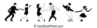 schwingen, paare, tanz, drei, silhouetten