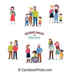 Schwule Familie, verschiedene Familien, besondere Bedürfnisse Kinder, gemischter Kaffee.