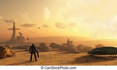science-fiction, wüste, dorf