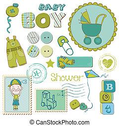 Scrapbook-Baby-Dusch-Boy - Design-Elemente