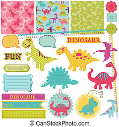Scrapbook Design Elemente - Baby Dinosaurier Set - in Vektor.
