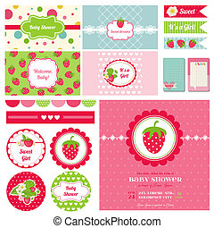Scrapbook Design Elemente - Erdbeer Baby-Dusche Thema - in Vektor.
