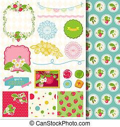 Scrapbook Design Elemente - Erdbeer shabby chic Thema - in Vektor.