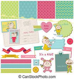 Scrapbook-Entwicklungselemente - Baby-Mädchen-Dusche - in Vektor