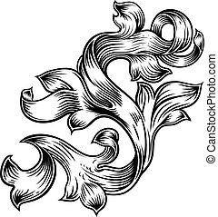 Scroll Blumenfaschigree Muster Heraldry Design.