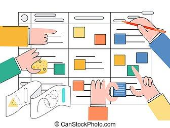 Scrum Taskboard Vektorgrafik - agiles Teamwork der Softwareentwicklung.
