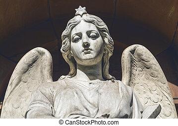 sculpture., künstler, engelchen, unbekannt, traurige , century., 19.