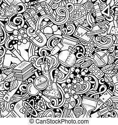 seamless, doodles, gezeichnet, wissenschaft, pattern., hand