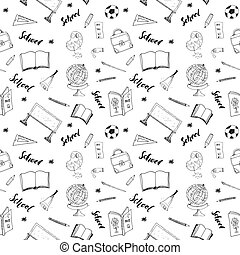 seamless, muster, vektor, schule, doodles, handdrawn, abbildung