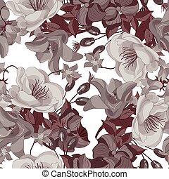 Seamless sepia Blumenmuster.