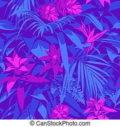 Seamless Ultraviolet Hawaii tropisches Muster mit Palmblättern und Blumen.