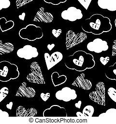 seamless, wolkenhimmel, weißer hintergrund, muster, herzen, schwarz