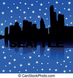 Seattle Skyline Schnee Illustration.