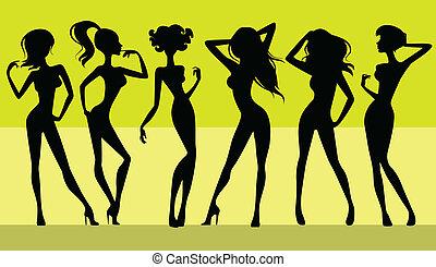 Sechs Mädchen Silhouette