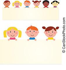Sechs multikulturelle Kinder mit leerem Banner. Vektor Illustration.