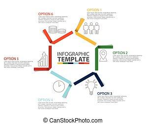 Sechs Schritt Papier infographische Vorlage mit Icons.