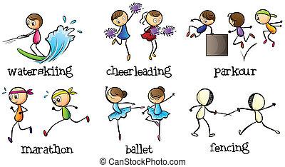 Sechs verschiedene Aktivitäten.