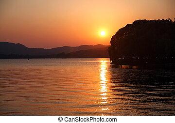 see, hangzhou, schöne , sonnenuntergang