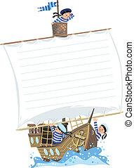 seeleute, schiff, banner, glücklich