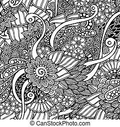 Seemlose Blumentroddel schwarz-weiß Hintergrundmuster