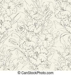 Seemlose Muster schöne, frische Irisblumen.