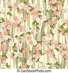 Seemlose Vektorfloramuster mit hand gezeichneten Kirschblüten in hellen Pastellfarben auf Wellenhintergrund. Frühlingsblütendruck im asiatischen Stil