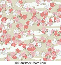 Seemlose Vektorfloramuster mit hand gezeichneten Kirschblüten in Pastellfarben und Weißfarben auf Wellenhintergrund. Frühlingsblütendruck im asiatischen Stil