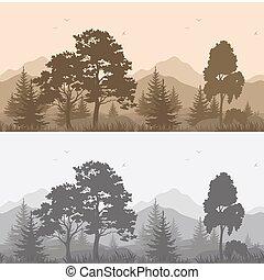 Seenlose Berglandschaft mit Bäumen Silhouetten