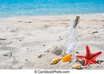 Seesterne, Muscheln und Flasche mit Nachricht.