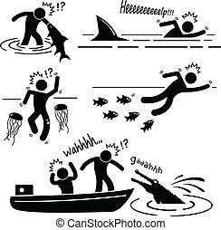 Seestromtier greift Menschen an.