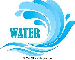 Seewellen mit blauen Wasserspritzen.