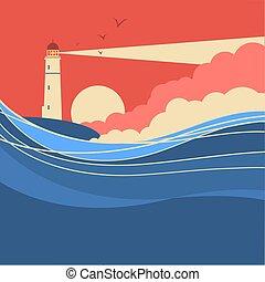 Seewellen mit Leuchtturm.Vektor Natur-Poster der Meereslandschaft