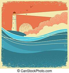 Seewellen mit lighthouse.Vintage Natur-Poster der Meereslandschaft