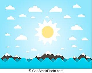 Seewellen mit Sonnenvektor Flachbild-Cartoon.