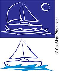Segelboot - auf dem Meer