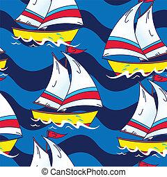 Segelboot auf dem Meer nahtlos Muster.