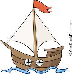 Segelboot-Cartoon.