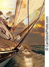 Segelboot-Ernte während der Regatta