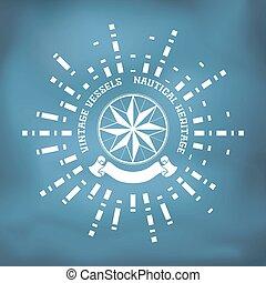 Segelmarke mit Windrose Kompass, Band