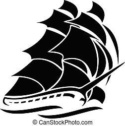 segeln, vektor, schiff, altes , abbildung, grafik, groß
