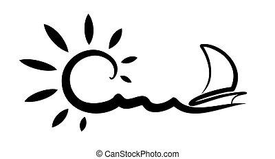 segeln, vessel., landschaftsbild, meer